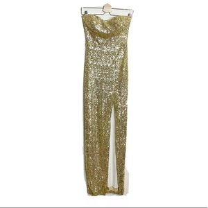B. DARLING SEQUIN GOLD LONG BALL GOWN DRESS S 5/6